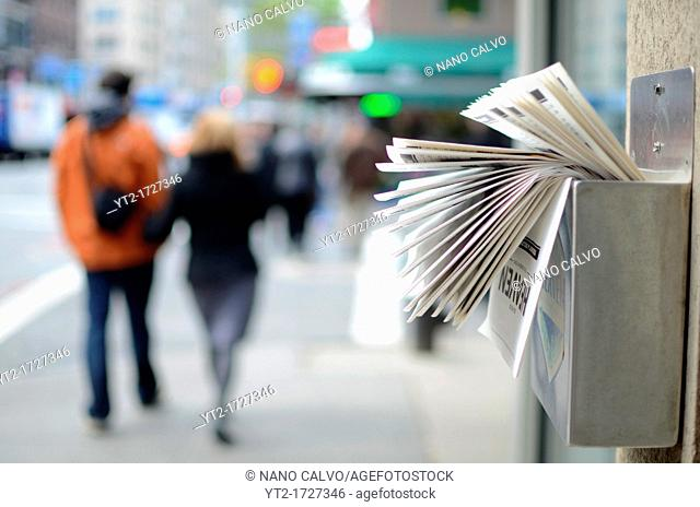 Commerce leaflets in the street