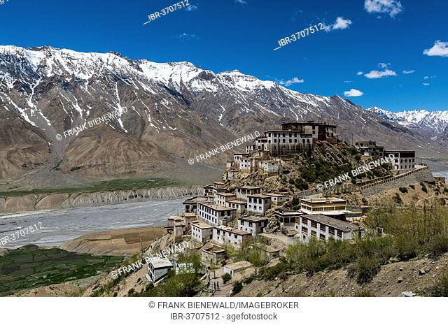 Key Monastery or Key Gompa, a Tibetan Buddhist monastery located on top of a hill, snow-covered mountains at the back, Spiti valley, Himachal Pradesh, India