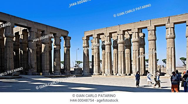 Luxor, Egypt. Temple of Luxor (Ipet resyt): colonnades in the courtyard