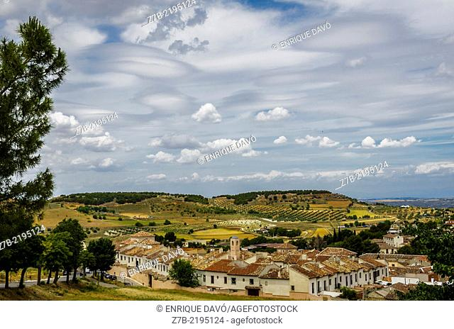Rural view from a hill of Chinchon village, Madrid province, Spain