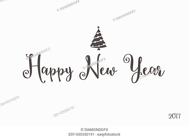 Happy New Year lettering typography. Handwriting text design with winter holidays calligraphy. Creative font, minimal greeting card decoration on black...