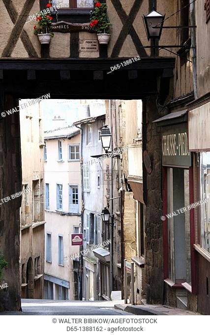 France, Puy-de-Dome Department, Auvergne Region, Thiers, cutlery capital of France, old town street