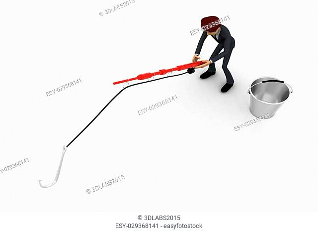 3d man fishing with fishing rod with big hook and bucket concept on white background, top angle view