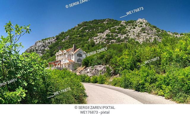 Skadar lake, Montenegro - 07. 15. 2018. Hotel Gazivoda near Crnojevica river bend in Montenegro, Rijeka Crnojevica in Montenegro