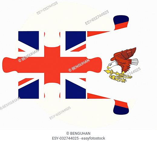 United Kingdom and American Samoa Flags in puzzle isolated on white background