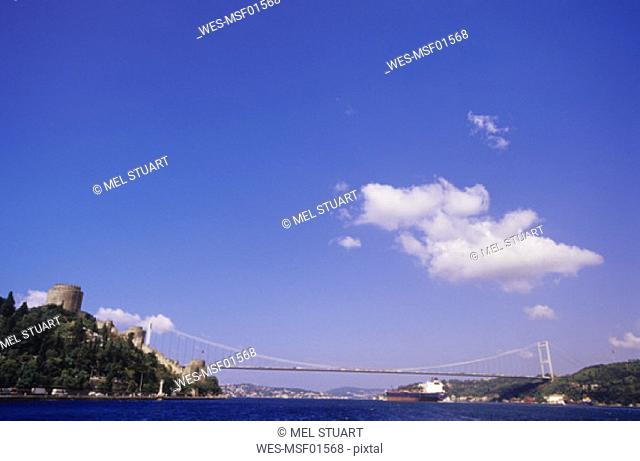 Istanbul, Rumeli Hisari Castle, Bosporus and Sultan Mehmet Bridge, Turkey