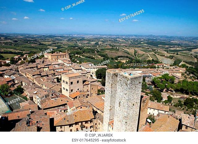 Tuscan village San Gimignano view from the tower