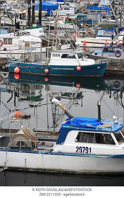 Commercial fishing boats at wharf, Prince Rupert, British Columiba