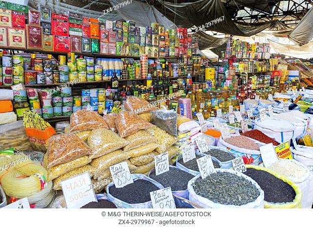 Food stall, Osh market, Bishkek, Kyrgyzstan, Central Asia