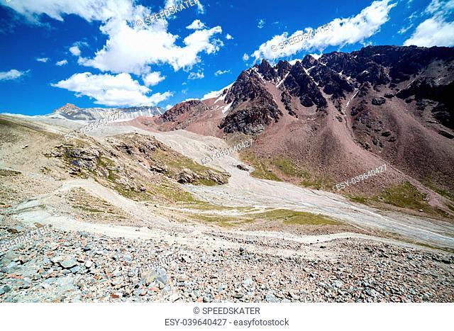 Twisting mountain road in Kirghizia. Tien Shan mountains
