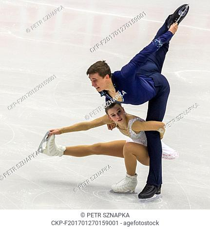 Anna Duskova and Martin Bidar compete during the pairs - free skating of the European Figure Skating Championships in Ostrava, Czech Republic, January 26, 2017