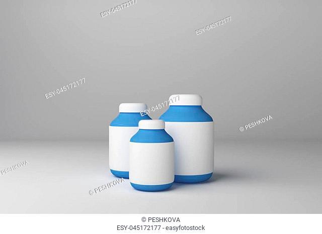 Empty blue medicine bottles on white background. Medical, drug, dosage and advertisement concept. Mock up, 3D Rendering