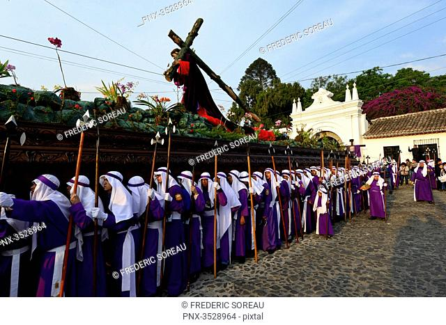 Holy week procession, Antigua, Guatemala, Central America