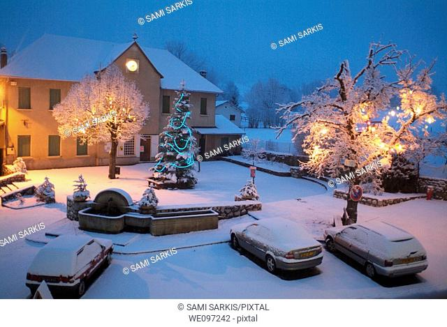 France selonnet french alps snow on the village place at christmas time