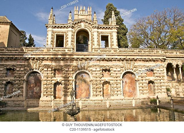 grotesque gallery and Mercury pond in Reales Alcazares gardens Sevilla Andalusia Spain