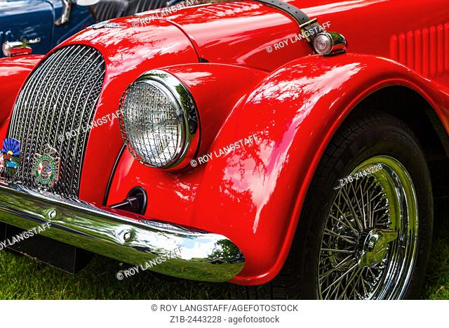 Abstract image of a Morgan 4 British Sports Car at a show in Vancouver