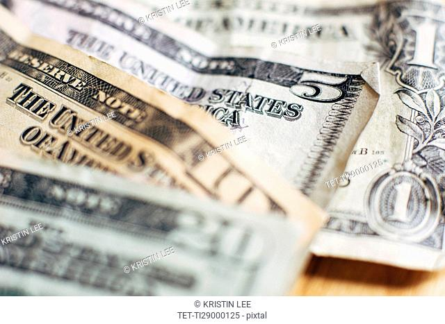 Studio shot of United States paper currency