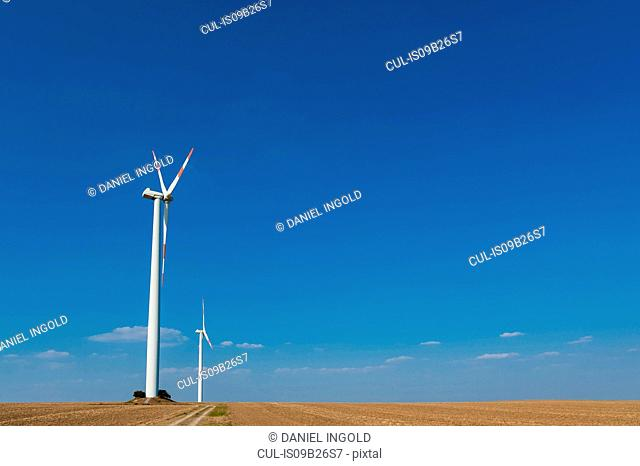 Wind turbines on farming landscape