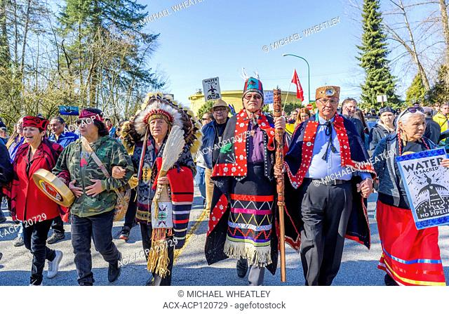 Indigenous Chiefs and elders lead Anti Kinder Morgan Pipeline March near Oil Tank Farm, Protect the Inlet, Kwekwecnewtxw, Burnaby BC, Canada