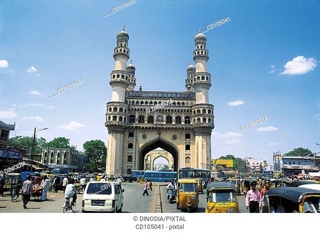 Charminar and city traffic. Hyderabad. Andhra Pradesh, India