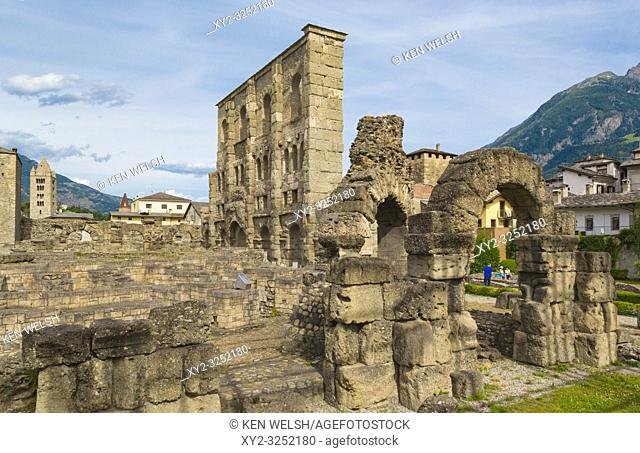 Aosta, Aosta Valley, Italy. The Roman theatre, built in the latter part of the reign of Augustus. In the Roman era the town was known as Augusta Praetoria