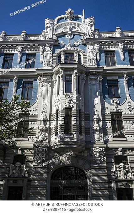 Art Nouveau (Jugendstil) architecture. Riga, Latvia, Baltic States, Europe