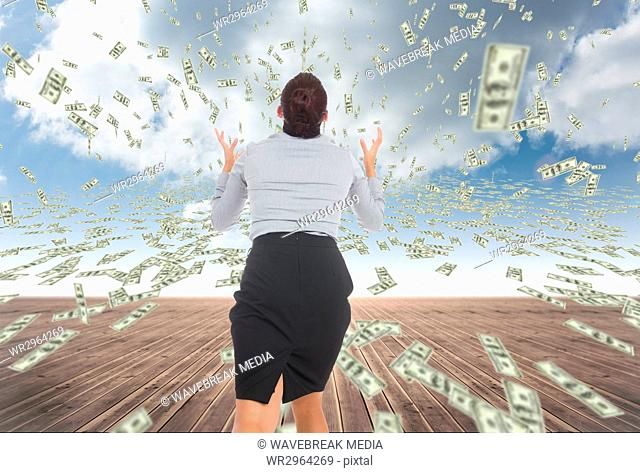 business woman with falling money