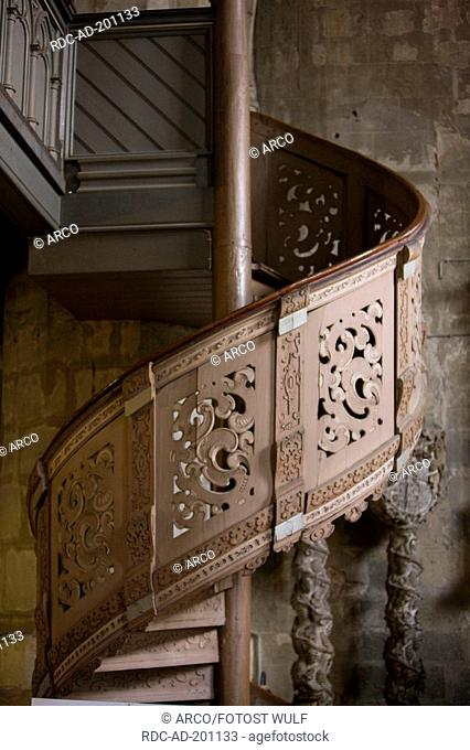 Newel stairs, St Benedikti church, Quedlinburg, Saxony-Anhalt, Germany