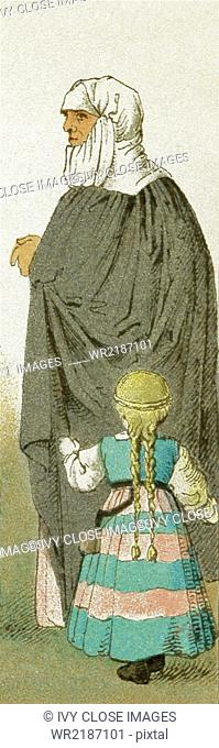 The woman represented here is a German nursemaid with her charge. They date to 1500-1550. The illustration dates to 1882