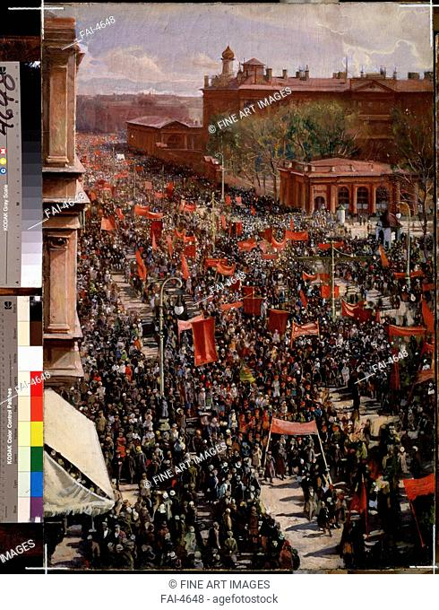 A parade. Brodsky, Isaak Izrailevich (1884-1939). Oil on canvas. Soviet Art. 1930. State Russian Museum, St. Petersburg. 88x61. Painting