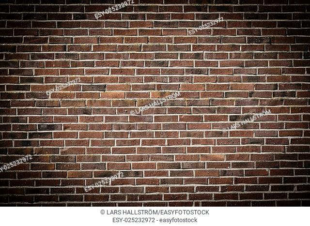 Empty brick wall. Red bricks with nice texture. Background with copy space