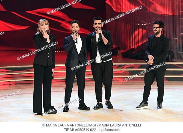 Milly Carlucci, Il Volo ( Gianluca Ginoble, Ignazio Boschetto, Piero Barone ) at the tv show Ballando con le stelle (Dancing with the stars) Rome