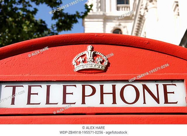 Traditional red telephone boxes in London