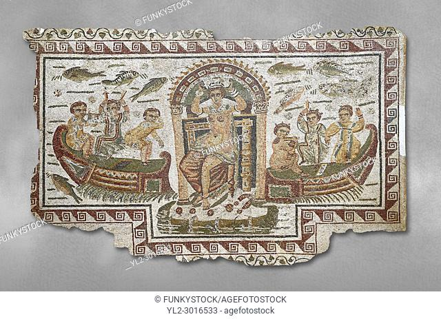 Late 4th century AD Roman mosaic panel of Venus, Aphrodite, on a boat crowning herself accompanied by six dwarfs. From Cathage, Tunisia
