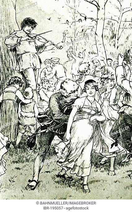 Young people are dancing near the border of a wood postcard about 1900