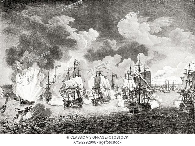 The destruction of the Turkish fleet by the Russians in the naval Battle of Chesme, 7th July, 1770. From Hutchinson's History of the Nations, published 1915