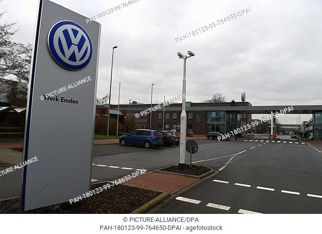 The logo of Volkswagen (VW) stands on a sign at the main gate of the Volkswagen plant inEmden, Germany, 23 January 2018