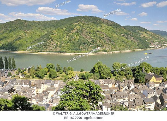 View from Burg Stahleck Castle in Bacharach over the Rhine River, Rhineland-Palatinate, UNESCO World Heritage Site of the Middle Rhine Valley, Germany, Europe