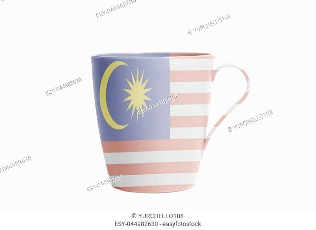 Cup with flag of Malaysia isolated on white background