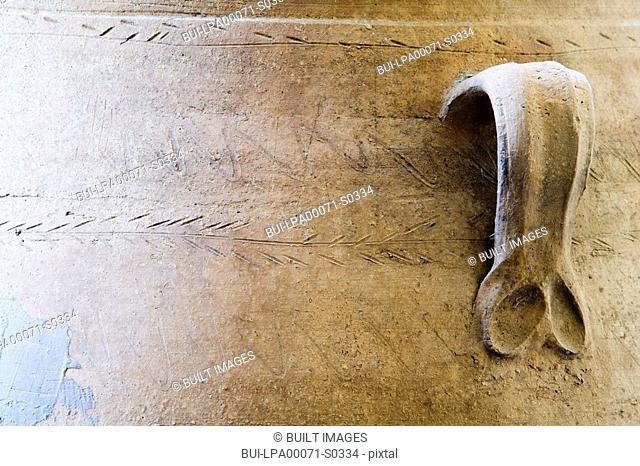 Detail handle of terra cotta pot
