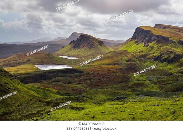 Landscape view of Quiraing mountains on Isle of Skye, Scottish highlands, United Kingdom