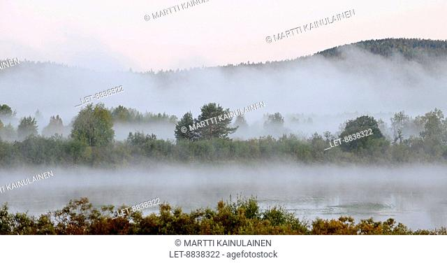 Mist during the morning in Tornionjoki, Pello, Finland