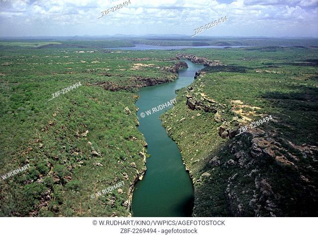 Vista Aerea de parte do Canion de Xingo , Rio Sao Francisco , Caninde de Sao Francisco SE