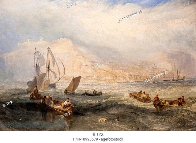 England, London, Kensington, Victoria and Albert Museum aka V&A, Painting of Line Fishing off Hastings by Joseph Mallord William Turner dated 1835