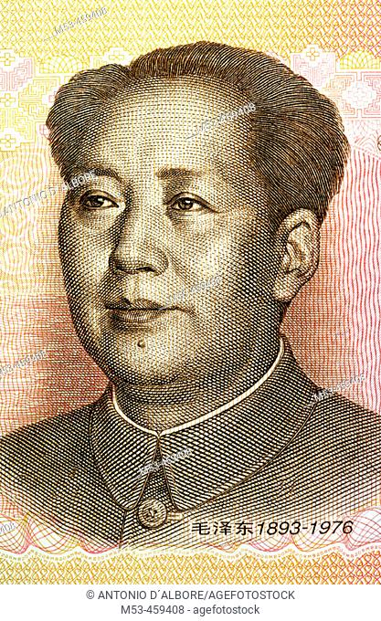 Mao Zedong drawing on a chinese banknote. China. Asia