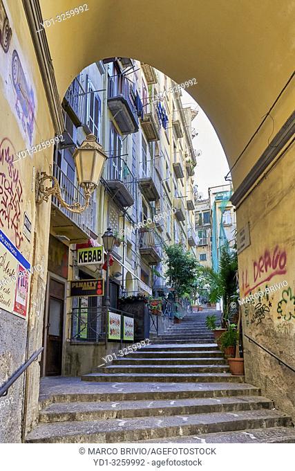Naples Campania Italy. A traditional narrow alley in Via Chiaia