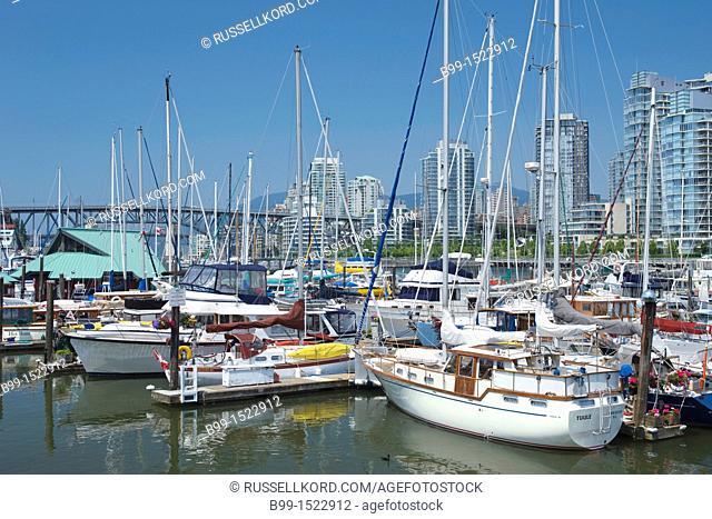 Stamps Landing  Marina False Creek Vancouver Skyline British Columbia Canada