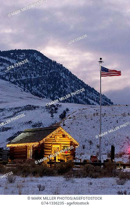 Christmas Lignts at Entrance Station Yellowstone National Park
