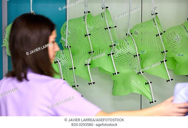 Radiation therapy masks, Radiotherapy, Oncology, Hospital Donostia, San Sebastian, Gipuzkoa, Basque Country, Spain
