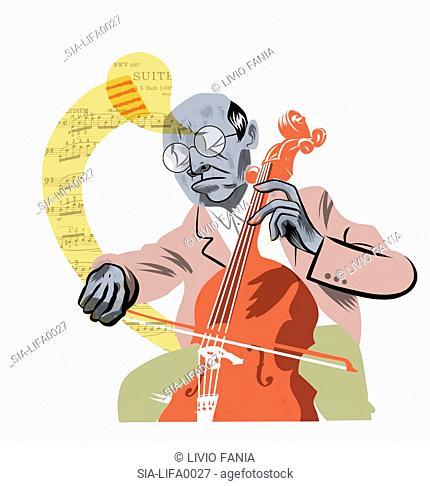 Mature man playing cello